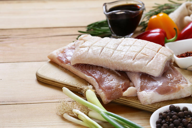 Raw duck fillet, spices and sauces royalty free stock images