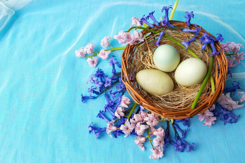 Raw eggs basket and hyacinth flowers stock images