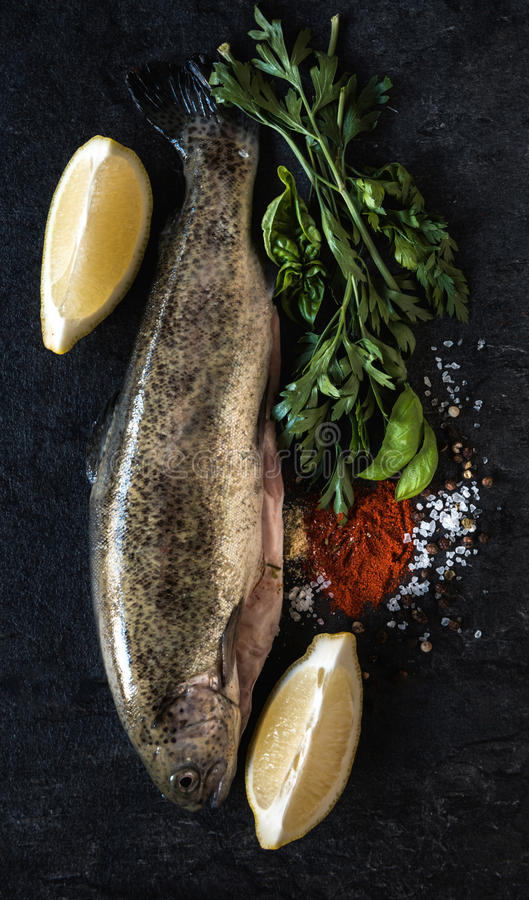 Raw fish on the board stock images