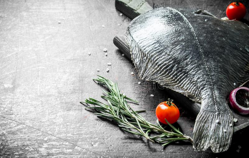Raw fish flounder with tomatoes, onion slices and rosemary. On dark rustic background royalty free stock image