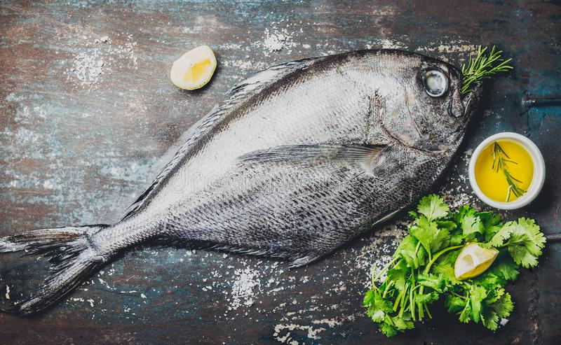 Raw fish with fresh ingredients ready to cook. Fish, lemon, herbs, oil. Ingredients for cooking on dark rustic royalty free stock photography