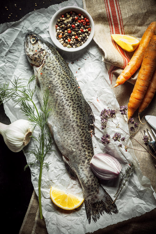 Raw Fish on a Paper with Herbs, Spices and Veggies royalty free stock images