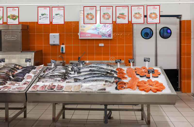Raw fish ready for sale in the supermarket Magnit royalty free stock image