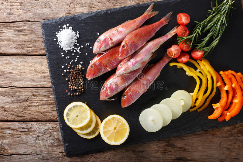 Raw fish red mullet with vegetable ingredients and spices close-up. horizontal top view royalty free stock image