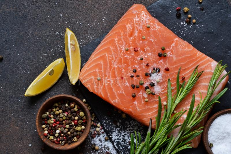 Raw fish salmon filet prepared for cooking. royalty free stock photo