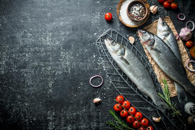 Raw fish seabass on a grid with tomatoes and spices. On dark rustic background stock photos