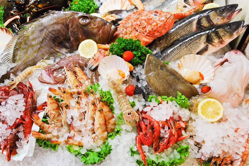 Download Raw Fish And Seafood In Ice Stock Image - Image: 42977727