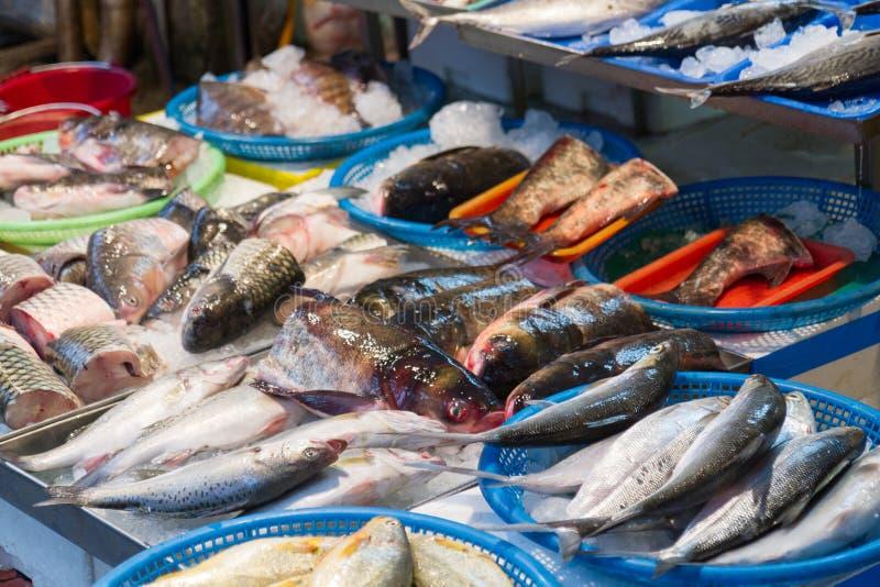 Raw fish at traditional market in Taiwan royalty free stock photo