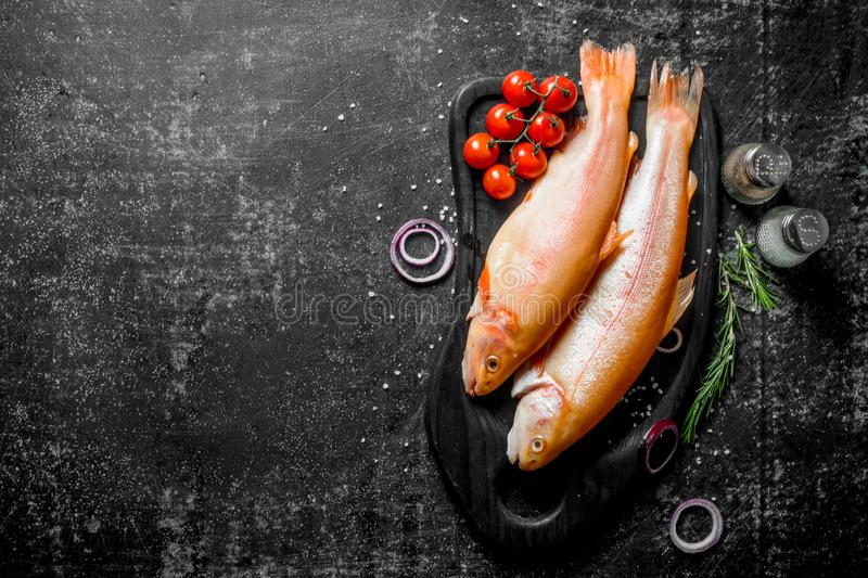Raw fish trout on a cutting Board with tomatoes, spices and sliced onions. On dark rustic background royalty free stock photo