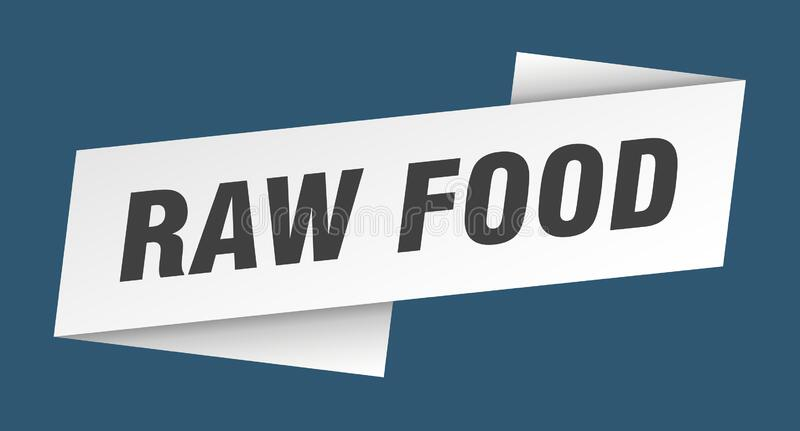 Raw food banner template. raw food ribbon label. Raw food sign royalty free illustration
