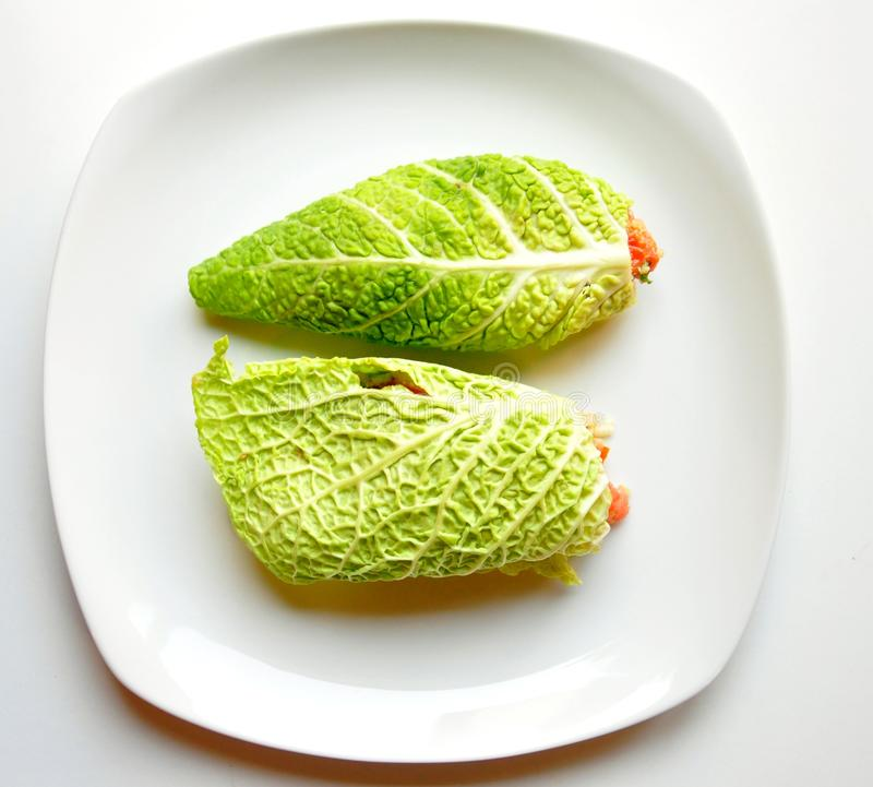 Raw food diet concept with fresh cabbage wraps stock image