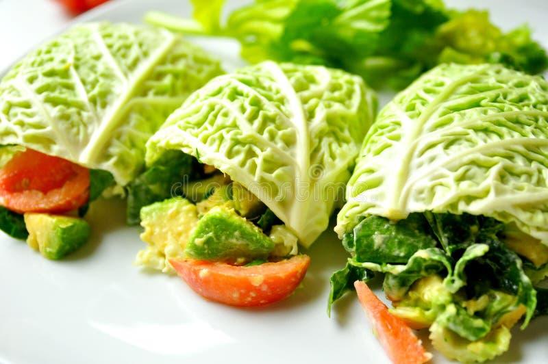 Raw food diet with fresh vegan rolls stock photos