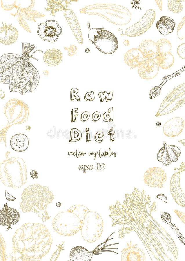 Raw food diet. Vegetarian vintage background with natural organic products. Healthy life. Vector composition of fresh royalty free illustration