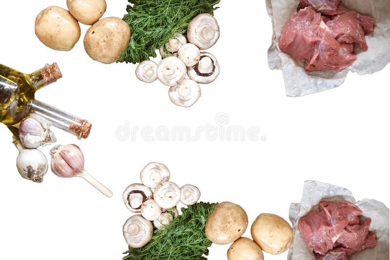 Raw food mushrooms champignons, pork meat, potatoes, dill greens, garlic, olive oil in a bottle isolated on white background. Collage, montage royalty free stock photography