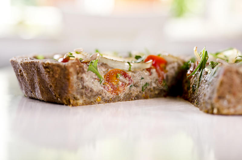 Raw food quiche stock images