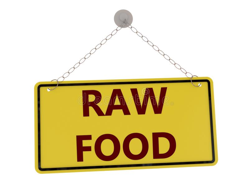 Raw food sign. With chain isolated on white background ,3d rendered royalty free illustration