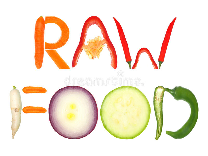 Raw food. Word written with letters formed from vegetables royalty free stock photos