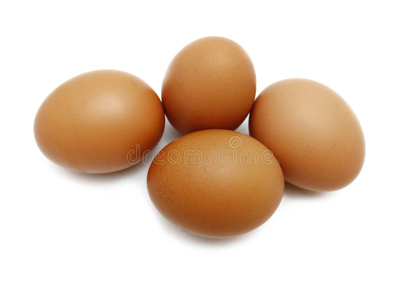 Raw fresh brown chicken eggs. stock image