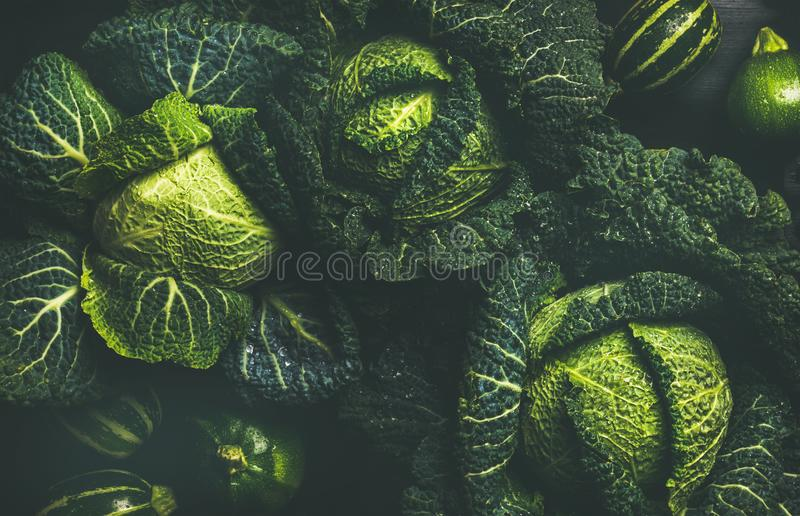 Raw fresh green cabbage texture and background, top view royalty free stock photography