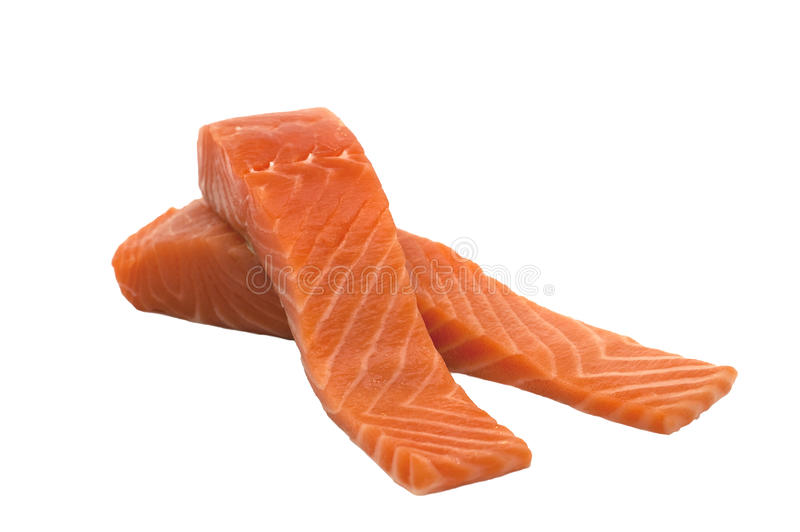 Raw fresh isolated salmon fillets. On white background royalty free stock photography