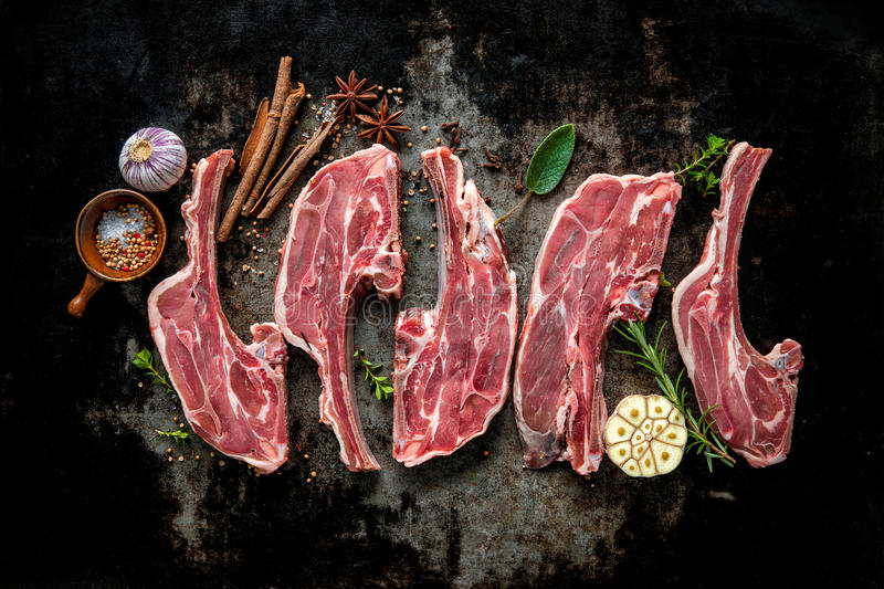Raw fresh lamb meat. On dark background stock photo