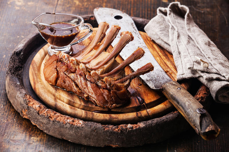 Raw fresh marinated veal ribs royalty free stock photo