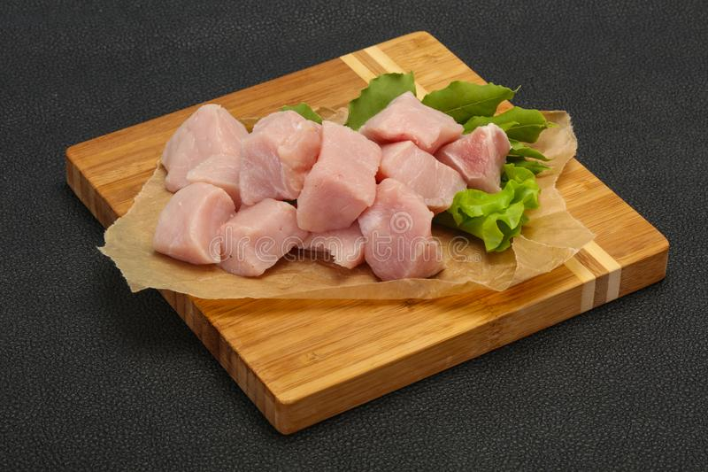 Raw fresh pork meat cube. Ready for cooking stock photo