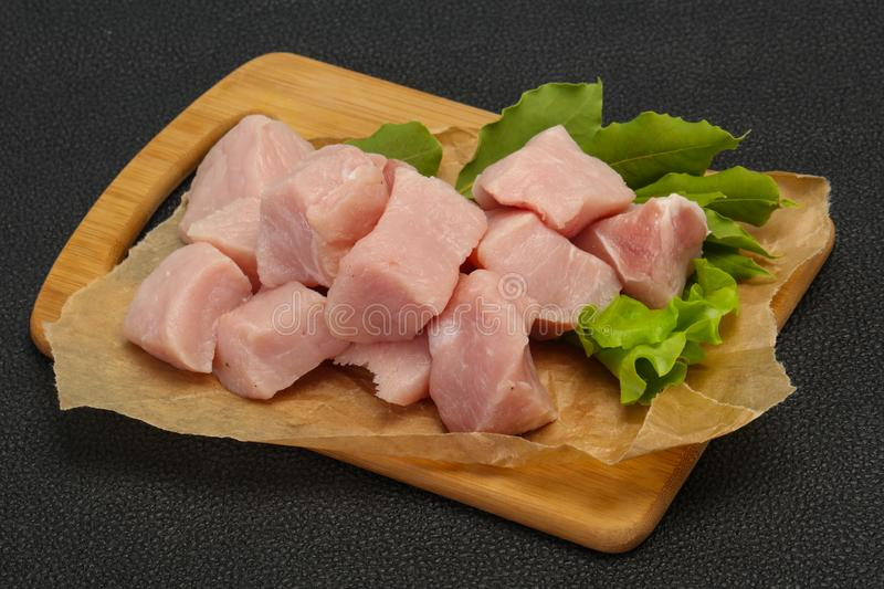 Raw fresh pork meat cube. Ready for cooking stock images