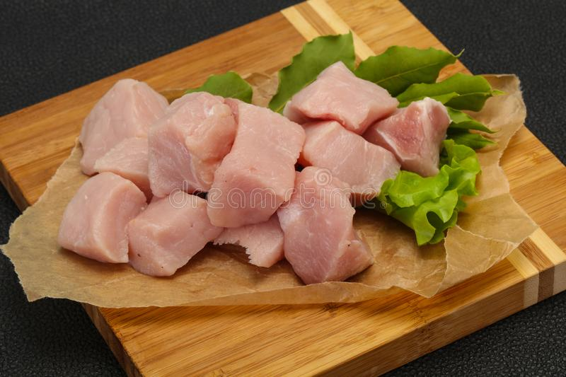 Raw fresh pork meat cube. Ready for cooking royalty free stock images