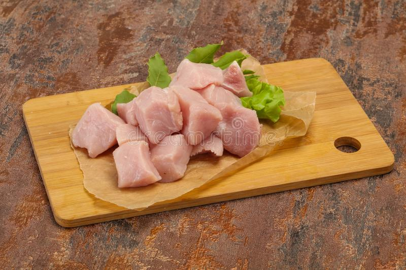 Raw fresh pork meat cube. Ready for cooking stock image