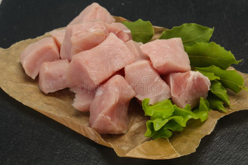 Raw fresh pork meat cube stock image