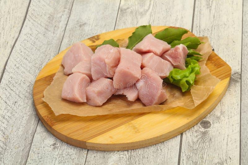 Raw fresh pork meat cube royalty free stock photo