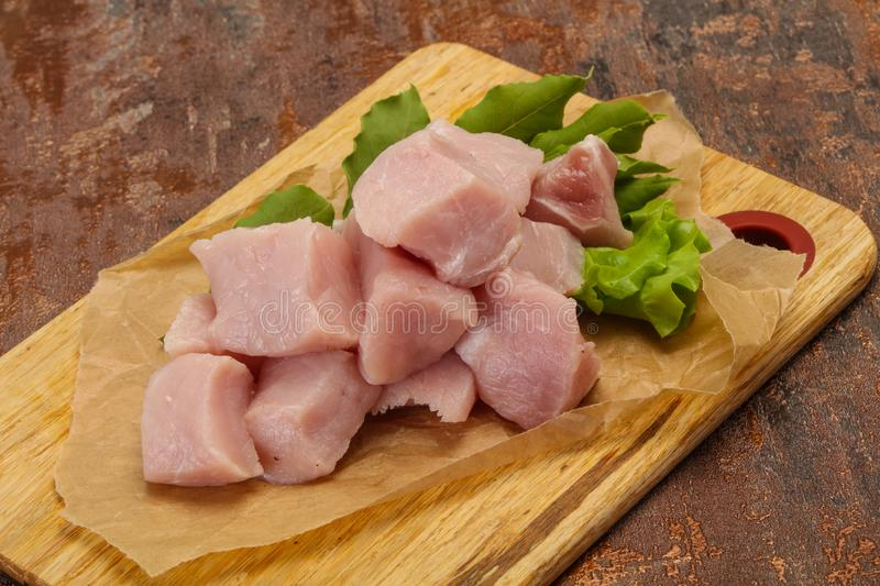 Raw fresh pork meat cube stock photos