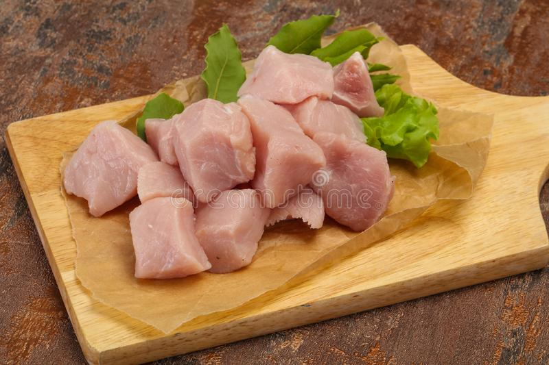 Raw fresh pork meat cube stock photo