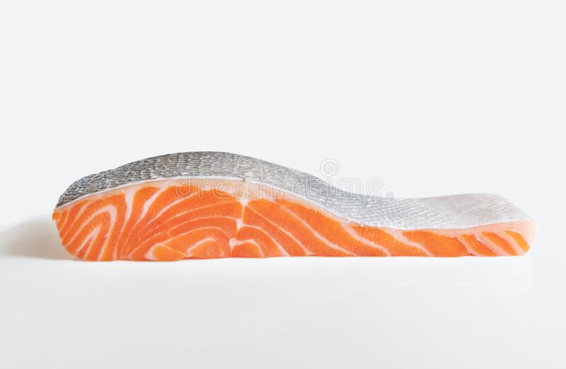 Raw fresh Salmon fillet, isolated on white background royalty free stock images