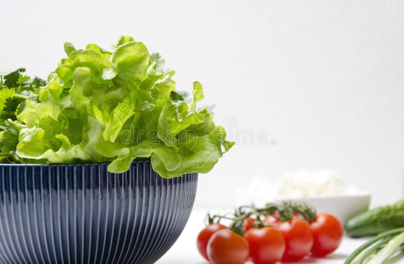 Closeup of lettuce leaves in the bowl and different ingredients for cooking.Fresh and delicious vegetables prepared for cooking me royalty free stock photo