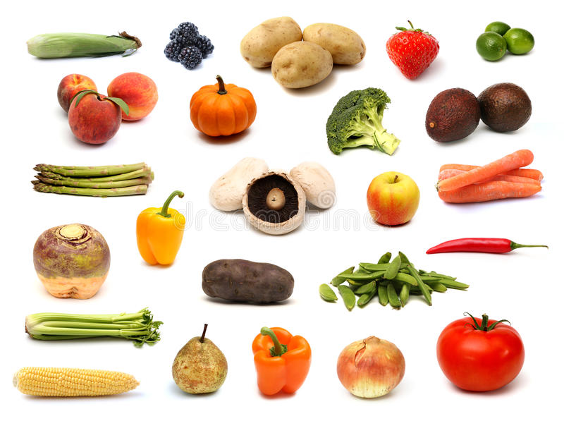 Raw Fruit and Vegetable Collage. On a White Background royalty free stock images