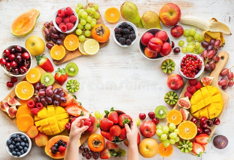 Raw fruits berries platter stock photography