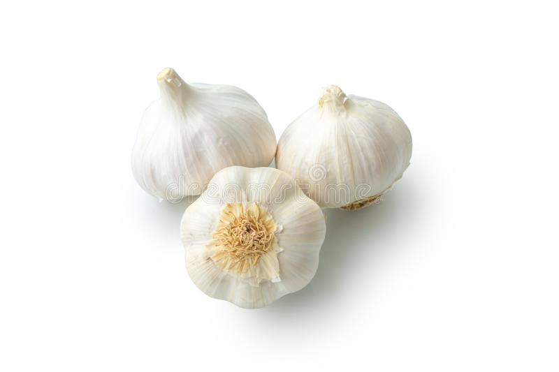 Raw garlic heads isolated on white background close-up. Organic, healthy, natural, object, plant, vegetable, leaf, life, part, green, bulb, food, fresh, ripe royalty free stock photos