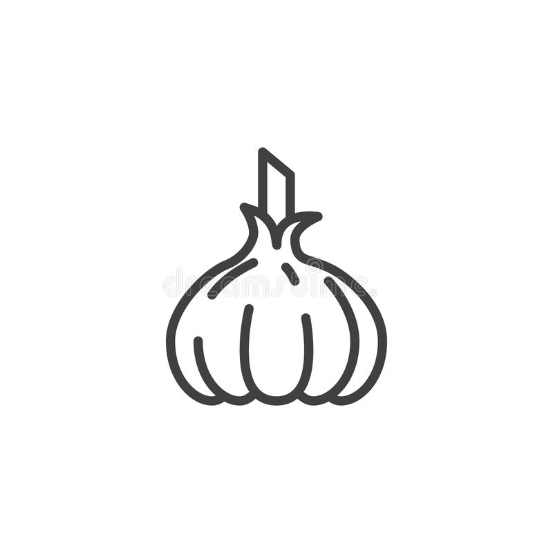 Raw garlic line icon. Linear style sign for mobile concept and web design. Garlic outline vector icon. Symbol, logo illustration. Vector graphics stock illustration