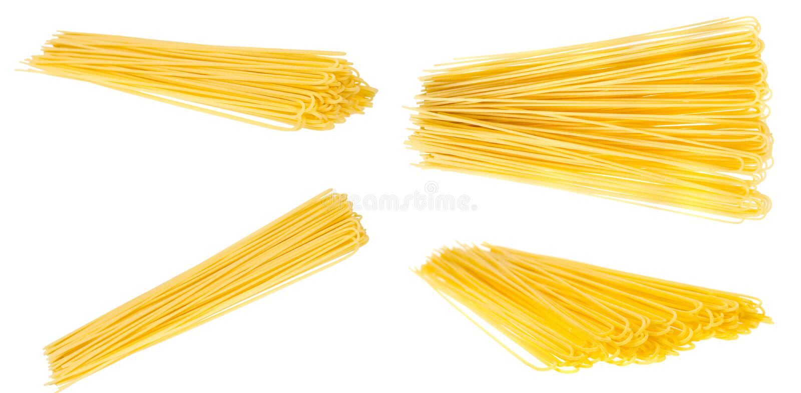 Raw golden spaghetti, set and collection. Isolated. On white background, macaroni, pasta, vegetarian, dry, closeup, color, cuisine, culture, focus, stacking stock images
