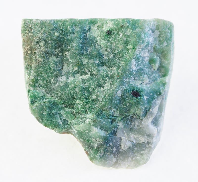 raw green aventurine stone on white stock photography