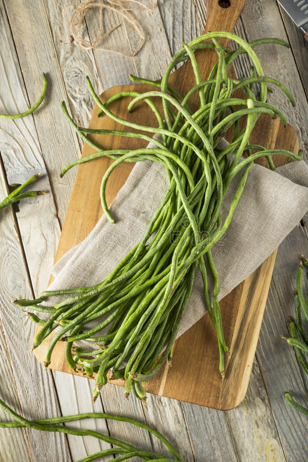 Raw Green Organic Chinese Long Beans. Ready to Cook With royalty free stock images
