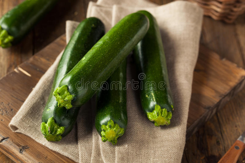 Raw Green Organic Zucchini Squash stock photo