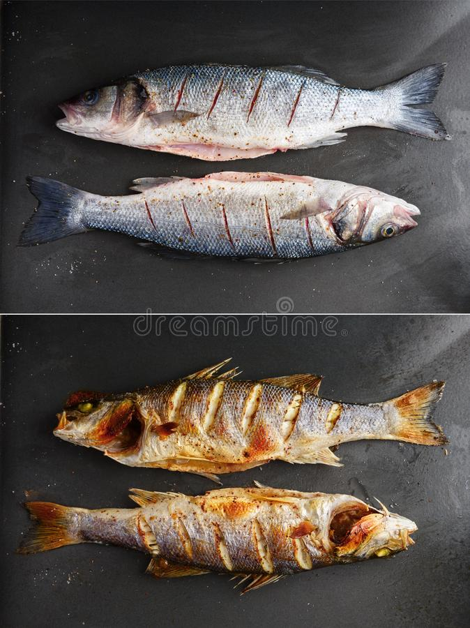 Raw and grilled sea bass fish on black plate stock photos