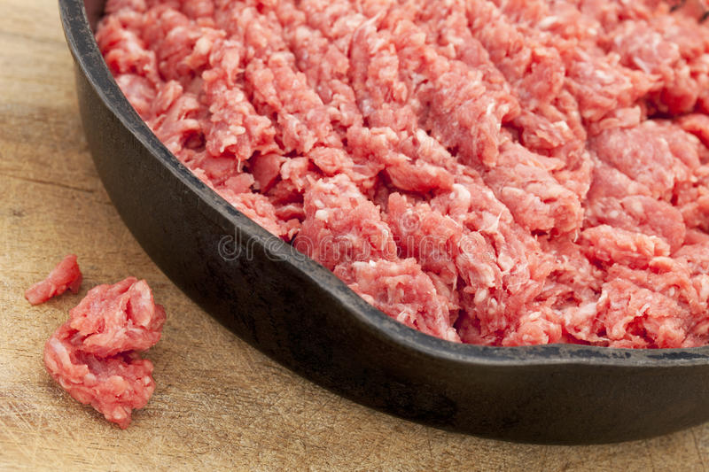 Raw ground bison (buffalo) meat stock images