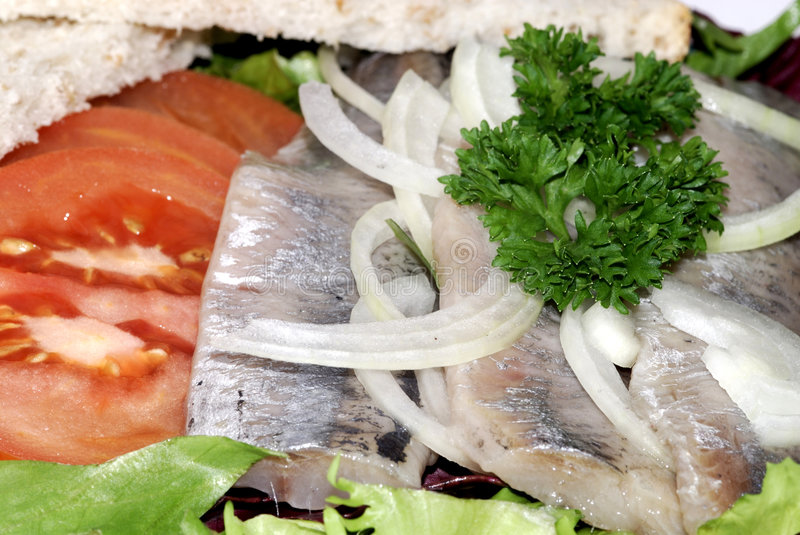 Raw herring with lettuce stock image