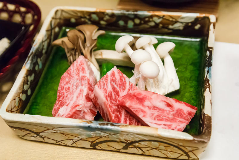 Raw Hida beef. stock photo