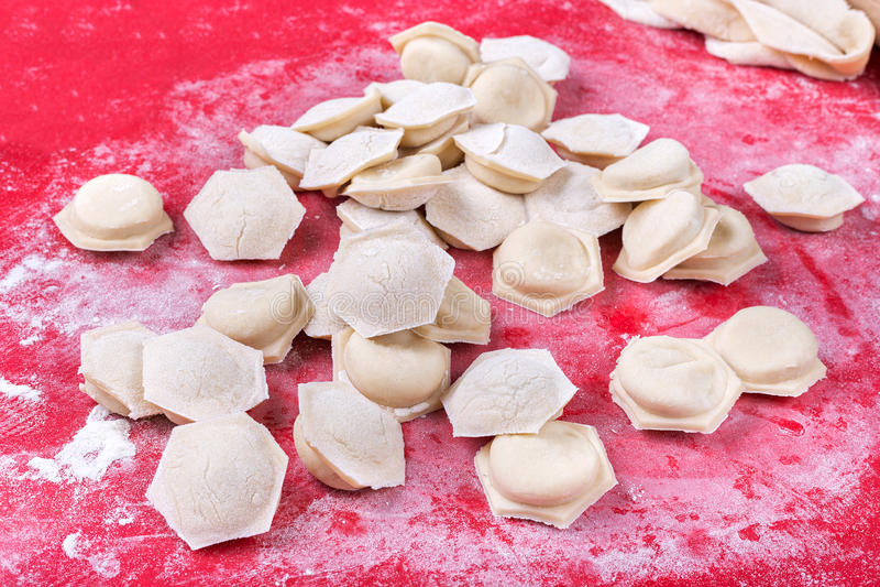 Raw homemade dumplings stock photography