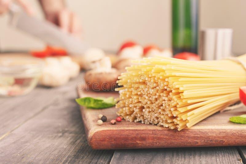 Raw homemade italian spaghetti royalty free stock image